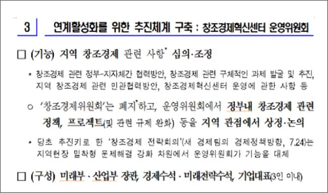 (1차 창조경제혁신센터 운영위원회 의결, 창조경제혁신센터 운영방안 2014. 10. 30)